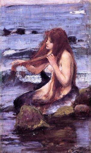 Reproduction oil paintings - Waterhouse - Sketch for 'A Mermaid'