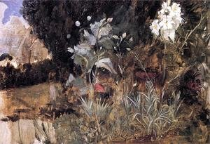 Reproduction oil paintings - Waterhouse - Flower Sketch for 'The Enchanted Garden