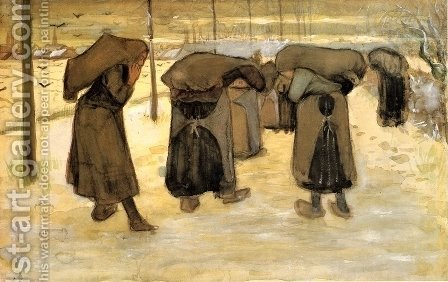 Vincent Van Gogh: Woman Miners Carrying Coal - reproduction oil painting
