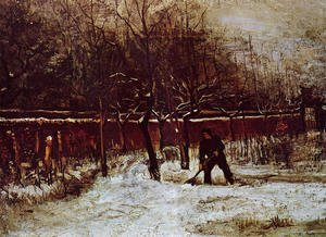 Reproduction oil paintings - Vincent Van Gogh - The Parsonage Garden at Nuenen in the Snow 2