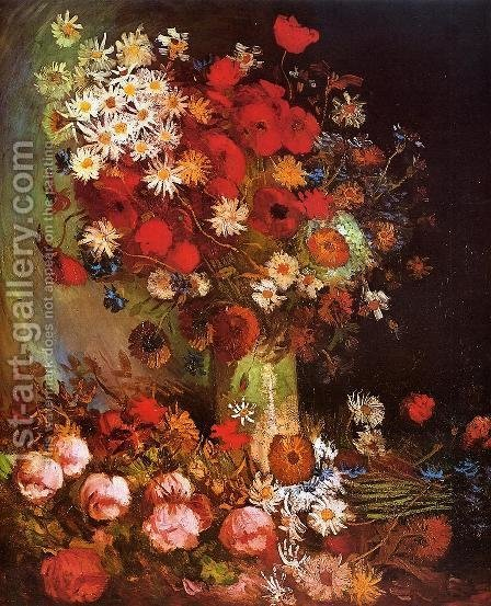 Vase with Poppies, Cornflowers, Peonies and Chrysanthemums by Vincent Van Gogh - Reproduction Oil Painting