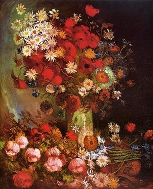 Famous paintings of Still Life: Vase with Poppies, Cornflowers, Peonies and Chrysanthemums