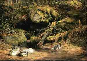 Reproduction oil paintings - Arthur Fitzwilliam Tait - Ducks at the Spring Head