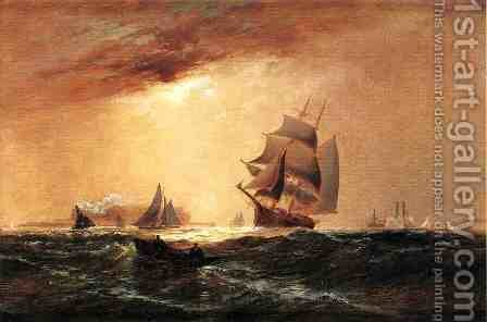Ships in New York Harbor by Granville Perkins - Reproduction Oil Painting