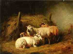 Reproduction oil paintings - Arthur Fitzwilliam Tait - Sheep in Shed