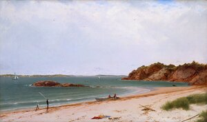 Reproduction oil paintings - John Frederick Kensett - View of the Beach at Beverly, Massachusetts