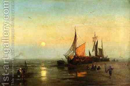 Moonlit Fishing Scene by Herman Herzog - Reproduction Oil Painting