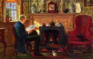 Reproduction oil paintings - Edward Lamson Henry - Examining Illustrations by the Fire
