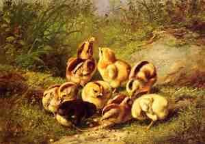 "Reproduction oil paintings - Arthur Fitzwilliam Tait - Chicks ""Rather Hard Fare"""