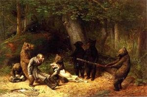 Famous paintings of Bears: Making Game of the Hunter