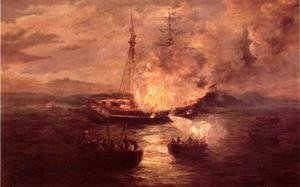 Famous paintings of Clouds & Skyscapes: The Burning of the Gaspee