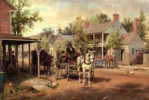 Reproduction oil paintings - Edward Lamson Henry - Horse and Buggy on Main Street