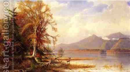 Henry A. Ferguson: Mountain Lake in Autumn - reproduction oil painting