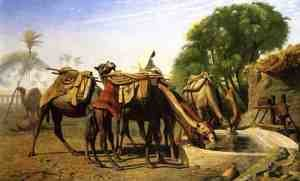 Famous paintings of Pools: Camels at a Watering Trough