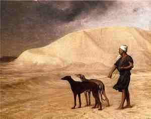 Reproduction oil paintings - Jean-Léon Gérôme - Team of Dogs in the Desert