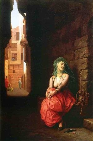 Reproduction oil paintings - Jean-Léon Gérôme - Young Arab Woman with Waterpipe