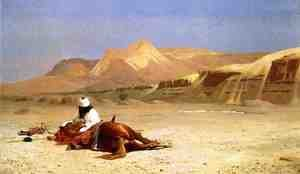 Reproduction oil paintings - Jean-Léon Gérôme - An Arab and His Horse in the Desert