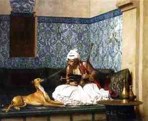 Reproduction oil paintings - Jean-Léon Gérôme - Arnaut Blowing Smoke in His Dog's Nose