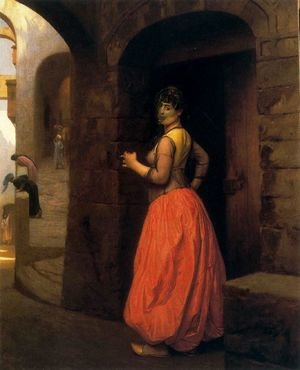 Reproduction oil paintings - Jean-Léon Gérôme - Woman from Cairo, Smoking a Cigarette