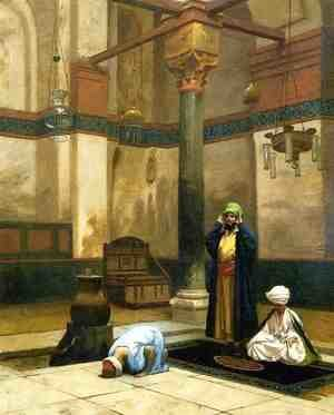 Reproduction oil paintings - Jean-Léon Gérôme - Three Worshippers Praying in a Corner of a Mosque