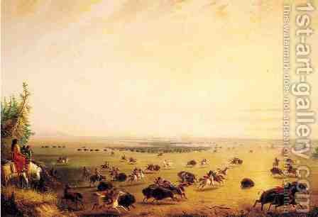 Surround of Buffalo by Indians by Alfred Jacob Miller - Reproduction Oil Painting