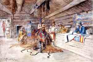 Famous paintings of Indians: Joe Kipp's Trading Post