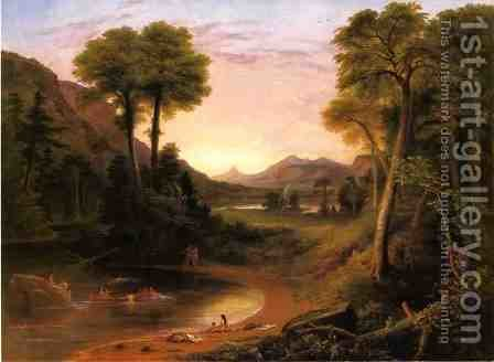 Indians Bathing - A Scene of New England by Henry Cheever(s) Pratt - Reproduction Oil Painting