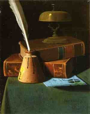 Still Life with Inkwell, Quill and Books