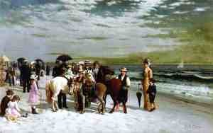 Reproduction oil paintings - Samuel S. Carr - On the Beach at Coney Island