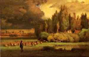 Reproduction oil paintings - George Inness - Shepherd in a Landscape