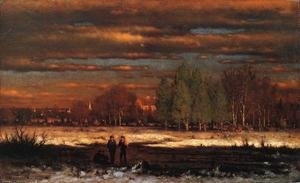 Reproduction oil paintings - George Inness - Winter Evening, Montclair