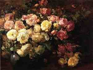 Famous pink paintings reproductions 1st art gallery famous paintings of pink still life with white and pink roses mightylinksfo