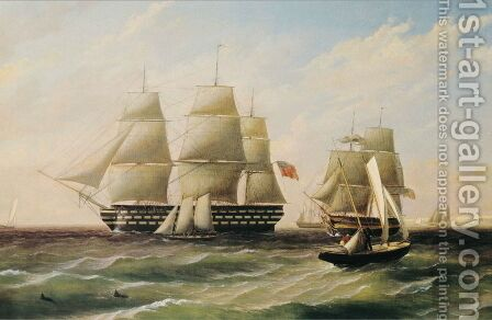 Ships at Sea by Thomas Birch - Reproduction Oil Painting