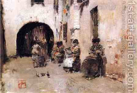 Stringing Beads, Venice by Robert Frederick Blum - Reproduction Oil Painting