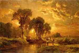 Reproduction oil paintings - George Inness - Medfield, Massachusetts