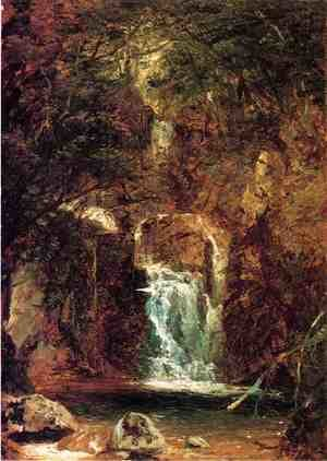 Reproduction oil paintings - John Frederick Kensett - Cascade near Lake George