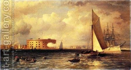 Ships Near the Battery by Granville Perkins - Reproduction Oil Painting