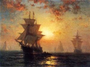 Famous paintings of Clouds & Skyscapes: Ships at Night