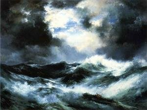 Famous paintings of Storms & Rough Water: Moonlit Shipwreck at Sea
