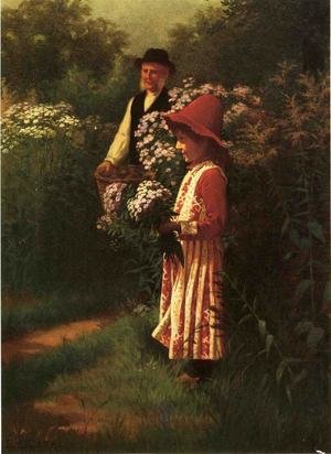 Reproduction oil paintings - Samuel S. Carr - Gathering Flowers