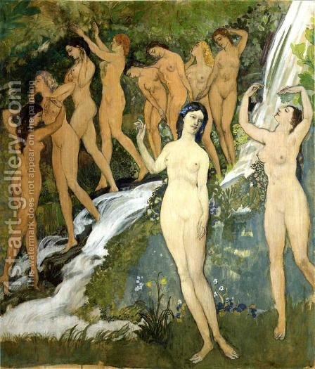 Arthur Bowen Davies: Ten Nudes by a Waterfall - reproduction oil painting
