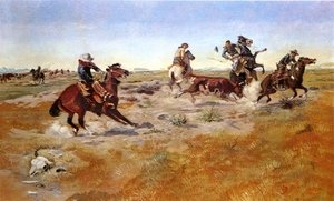 Famous paintings of Horses & Horse Riding: The Judith Basin Roundup