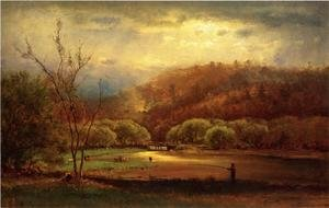 Reproduction oil paintings - George Inness - Fishing
