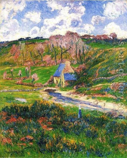 Bretons on the Banks of a River by Henri Moret - Reproduction Oil Painting