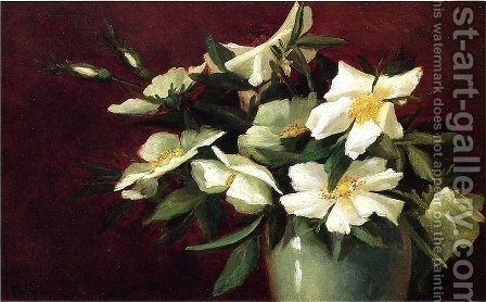 White Roses by Harriet Cheney - Reproduction Oil Painting