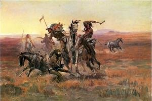 Famous paintings of Horses & Horse Riding: When Blackfeet and Sioux Meet