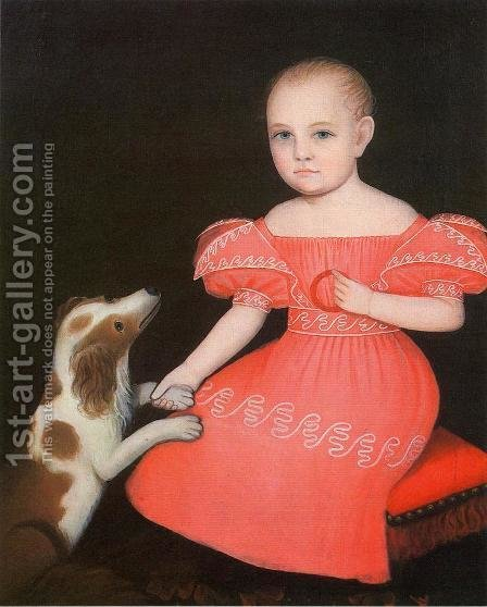 Child in Pink with Her Spaniel by Ammi Phillips - Reproduction Oil Painting