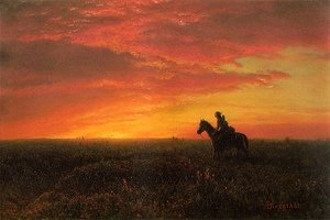 Reproduction oil paintings - Albert Bierstadt - On the Plains, Sunset