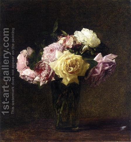 Roses 3 by Ignace Henri Jean Fantin-Latour - Reproduction Oil Painting