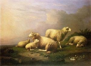 A Flock of Sheep Resting by a Pond